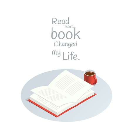 Read more book Changed My Life,isometric book reading vector Stock Illustratie