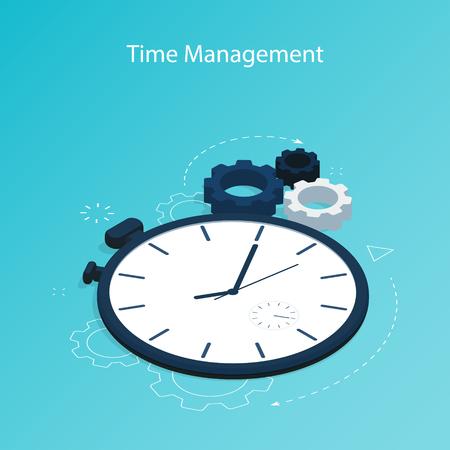 isometric time management gear flat vector Vektoros illusztráció