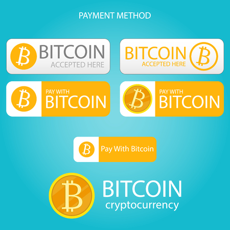 bitcoin payment button set,bitcoin cryptocurrency digital money vector