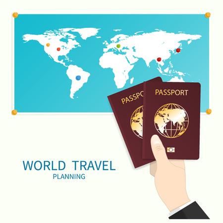 hand holds passport world map vector Illustration