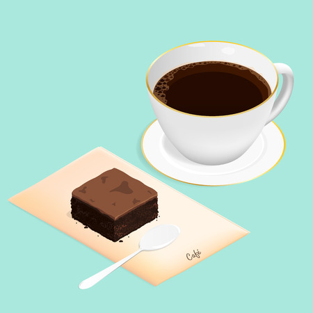 isometric brownie chocolate cake and coffee vector Ilustrace