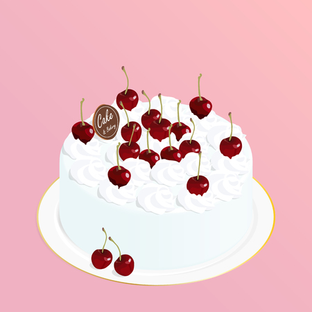 cherry cake chocolate,cafe bakery vector