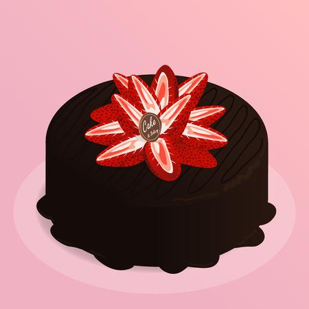 strawberry cake chocolate,cafe bakery vector