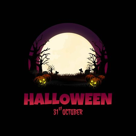 night halloween forest background vector