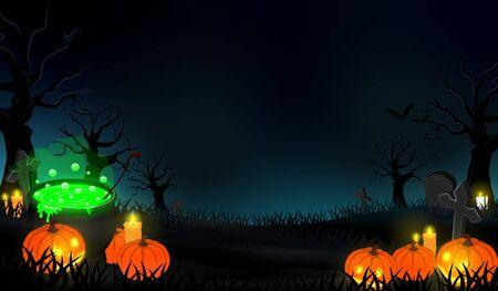 dark halloween forest background vector