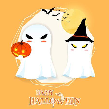 happy halloween cartoon ghost pumkin vector
