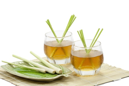 Lemongrass drink with white background
