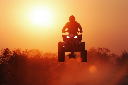 Silhouette ATV jump Stock Photo - 11956490