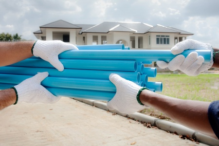 pvc: PVC pipes in construction site Stock Photo