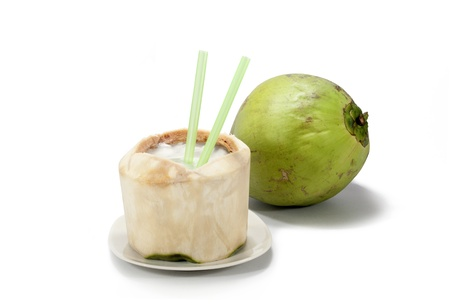 Coconut with white background Banco de Imagens