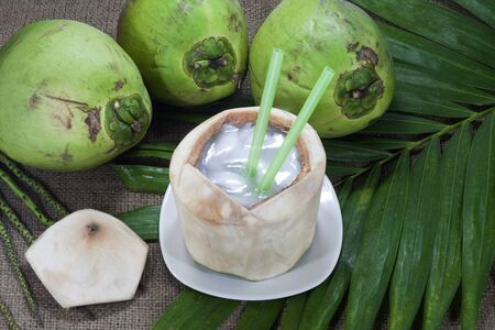 coconut sugar: Coconut jelly in coconut shell