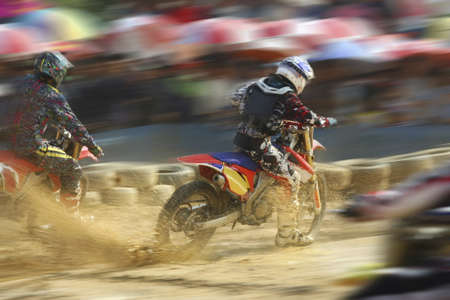 Motocross bikes racing in track Stock Photo - 12299029