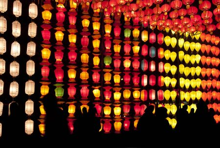 Chinese lantern with silhouette people  photo