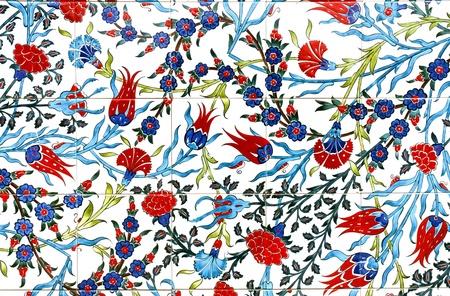 ottoman empire: Floral pattern on turkish tiles