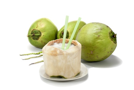 coconut drink: Coconut on white background