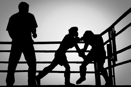 duel: Silhouette outdoor boxing fight