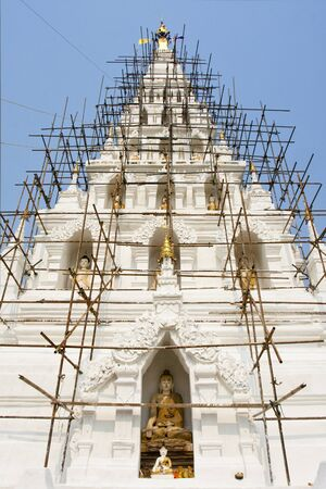 The repairing of famous pagoda in Thailand, Chedi-Liam, Chaing Mai province, north of Thailand photo
