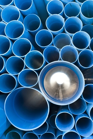 sewer water: Blue PVC pipe for water supply