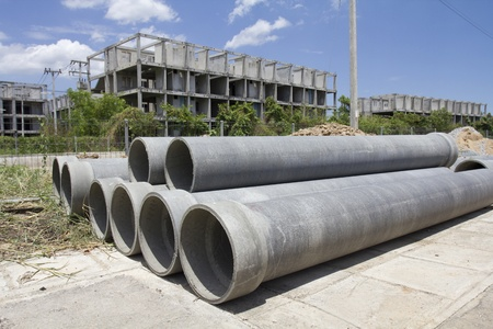 asbestos: Asbestos pipes for drain in construction site Stock Photo