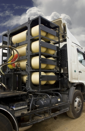 ngv: CNG NGV gas containers for heavy truck , alternative fuel  Stock Photo