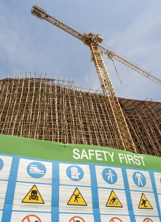 Safety first symbol in construction site photo