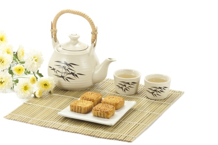 mid autumn festival: Chinese cake with tea Stock Photo