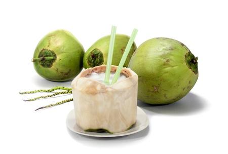 drinking straw: Fresh coconut