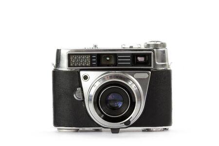 rangefinder: Rangefinder vintage camera on white background Stock Photo