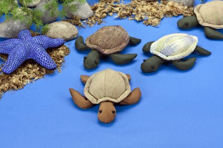 The turtles dolls family, made of cloth photo