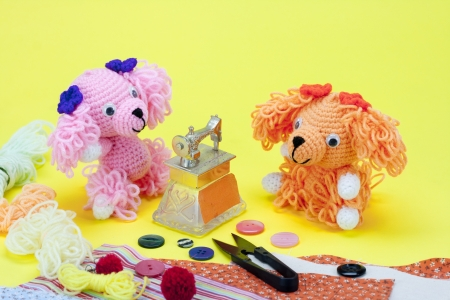 dogs knitting doll with sewing toy photo