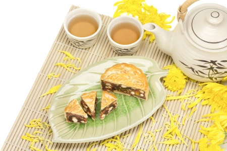 Mooncake with nuts and cream inside photo