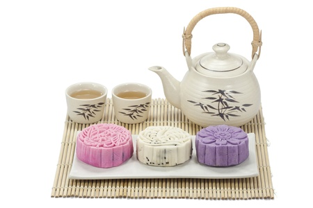 moon cake festival: Mooncake with tea Stock Photo
