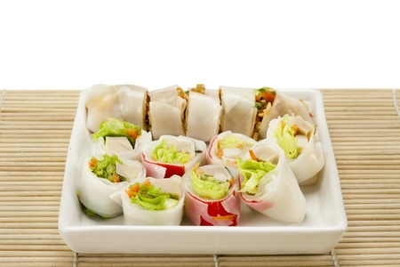 spring rolls ,rice paper rolls with pork and vegetables