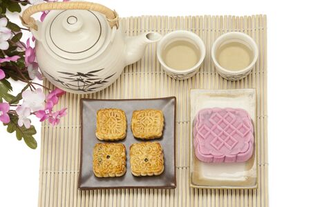 Moon cake two size with tea photo