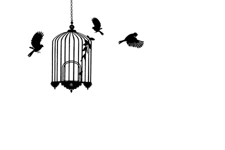Bird cage symbol on white background