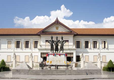 king of thailand: Three king monument , landmark of chiangmai Thailand