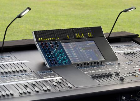 music production: Digital sound mixer in concert