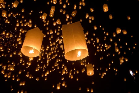 chiang mai: Floating asian lanterns