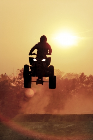 Silhouette ATV jump Stock Photo - 16644115