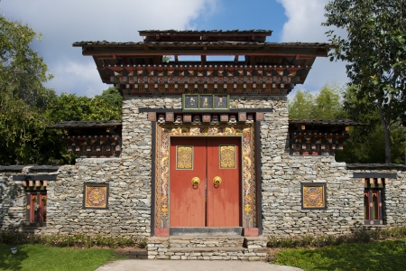 Arched gate Bhutan style  photo