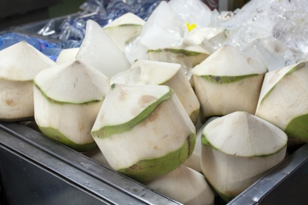 Coconut peeled skin in market ,Thailand