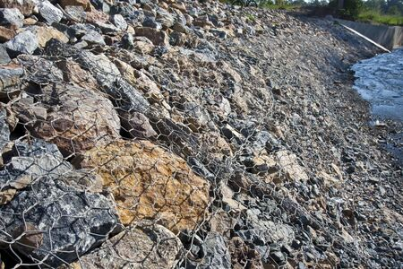 steel wire: Gabion on the bank of the river