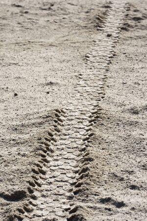 bike tire: Tire tracks on dirt