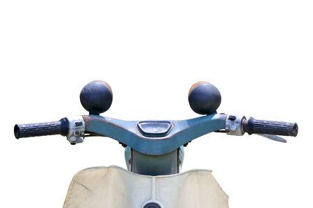handlebar: Vintage motorcycle handlebar isolated Stock Photo