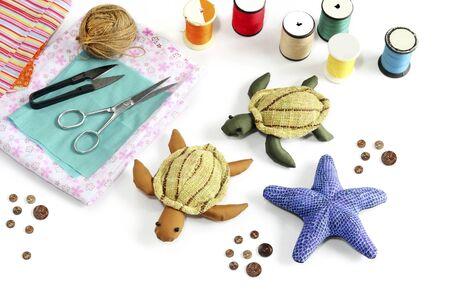 made by hand: Starfish, turtle doll made of cloth   Stock Photo