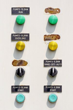 energy work: The pump control panel to manage the plant.  Stock Photo