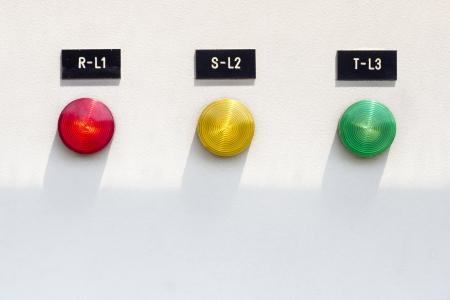 three phase: Three phase electric light indicator on control pan Stock Photo