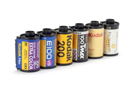 kodak: Chiang Mai, Thailand - July 20 : Type of 35mm Kodak camera Film rolls on a white background on Jul 20, 2012 in Chiang Mai, Thailand.  Kodak is best known for photographic film products during most of the 20th century. Editorial