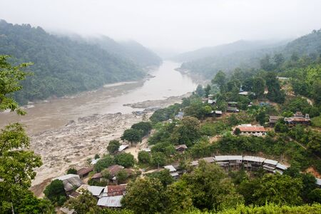 nu: Salween River at border of Thailand and Myanmar   right Thailand