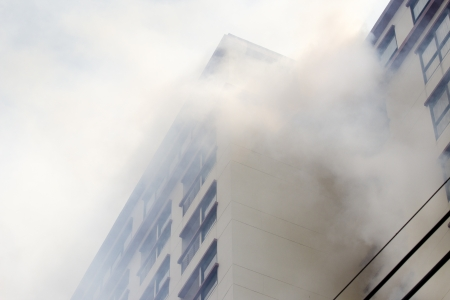 fire damage: condominium or apartment burning
